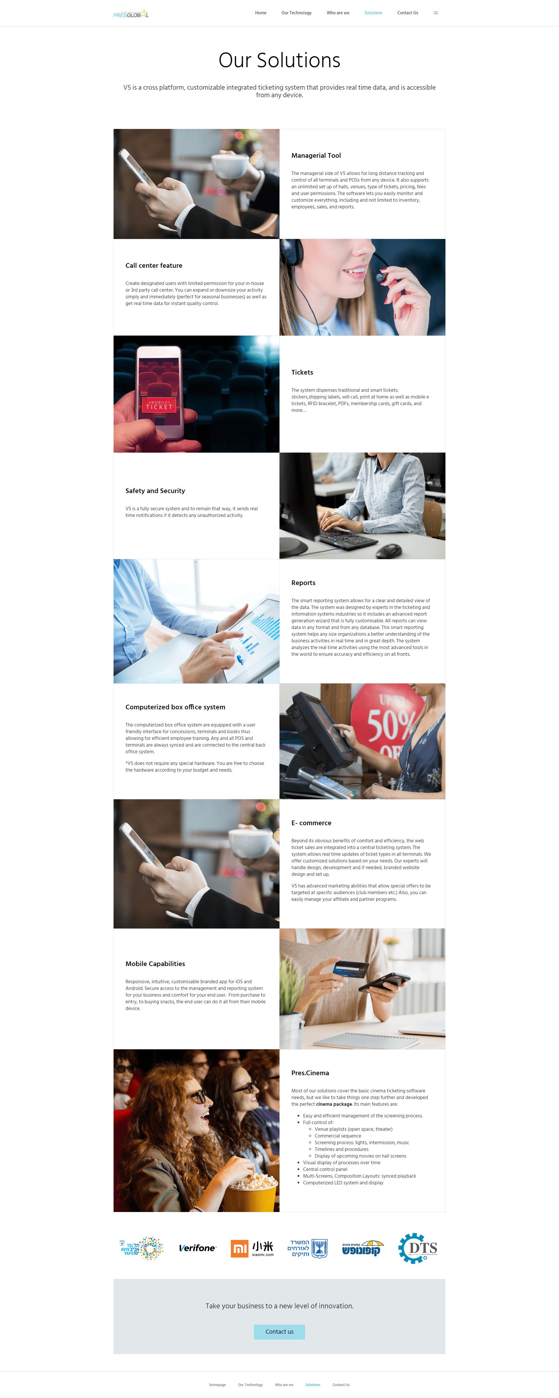 PresGlobal אתר תדמית דף פתרונות